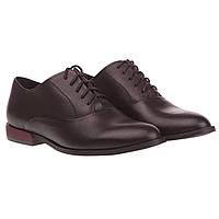 Женские туфли Nessi (кожаные, черные, с закрытым типом шнуровки, качественные, удобные)