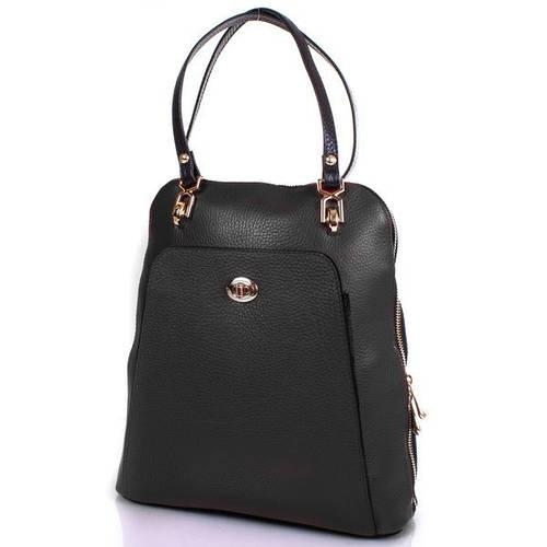 Женская кожаная сумка-рюкзак DESISAN (ДЕСИСАН) SHI3132-011 Черный