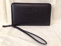 Мужское кожаное фирменное портмоне Polo - барсетка Поло- клатч на руку