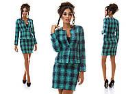 Женский костюм двойка в клетку, юбка и пиджак. Разные цвета.
