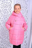 Детская удлиненная зимняя куртка для девочки на силиконе