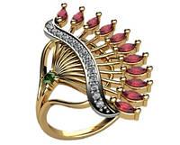 Интересное необычное золотое колечко 585* пробы с Фианитами