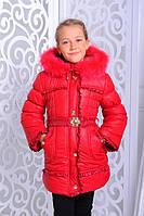 Детская зимняя куртка для девочки на меху овчины