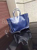 Женская кожаная сумка Селин Celine синяя