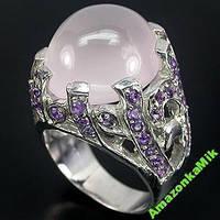 """Серебряное кольцо """"Магия"""" натуральный розовый кварц , аметист!"""