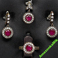 Набор Рубиновый винтаж серебро, синтетич.корунд