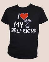 Парная мужская футболка I  Love My Girlfrien черна