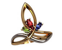 Красочное маленькое золотое колечко 585* интересной формы