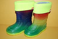 Детские резиновые сапоги Радуга с утеплителем ТМ Алиса Лайн размеры 25-30