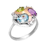 """Серебряное кольцо с золотыми пластинами и натуральными камнями """"Позитив"""""""