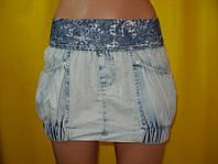 Джинсовая юбка, низ на резинке голубая ЛЕТО