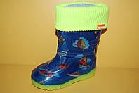 Детские резиновые сапоги Кораблики с утеплителем ТМ Алиса Лайн размеры 25-30