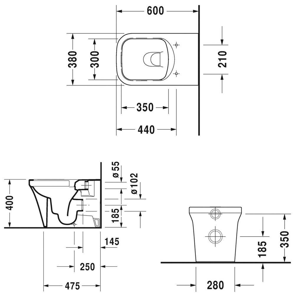 Унитаз напольный Duravit P3 Comforts Rimless 2166090000