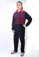 Женский велюровый спортивный костюм больших размеров - зебра (розовая полоса)