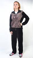 Женский велюровый спортивный костюм больших размеров с капюшоном (тигр)