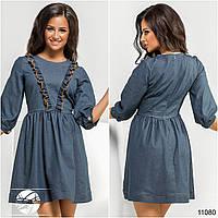Женское короткое джинс-коттоновое платье с рюшами