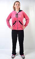 Женский брендовый спортивный костюм больших размеров - Angel (черный/розовый)