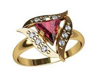 Интересное золотое колечко 585* пробы треугольной формы