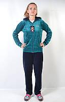 Женский брендовый спортивный костюм больших размеров - (синий/зеленый)