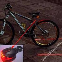 Велофонарь с лазерами (5 светодиодов + 2 лазера)