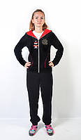 Женский брендовый спортивный костюм больших размеров - Apple - (черный)