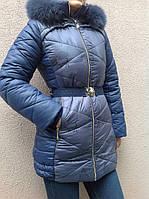 Зимнее полупальто с натуральным мехом для девочки