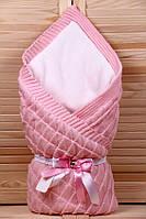 """Теплый вязанный конверт одеяло  """"Лапушка"""" розовый"""