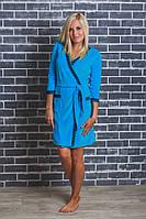Женский  велюровый халат с поясом голубой, фото 1