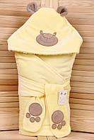 """Зимний велюровый Конверт - одеяло  на выписку """"Панда"""" (желтый)"""