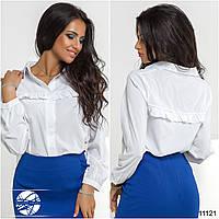 Женская однотонная рубашка с рюшами
