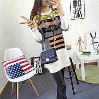 Женский теплый свитер-туника с принтом