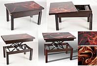 Стол трансформер со стеклом Флай (Fly) венге, темный орех, регулирется по высоте, журнальный, обеденный