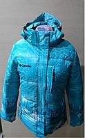 Зимняя женская куртка COLUMBIA 6656 бирюзовая оригинал
