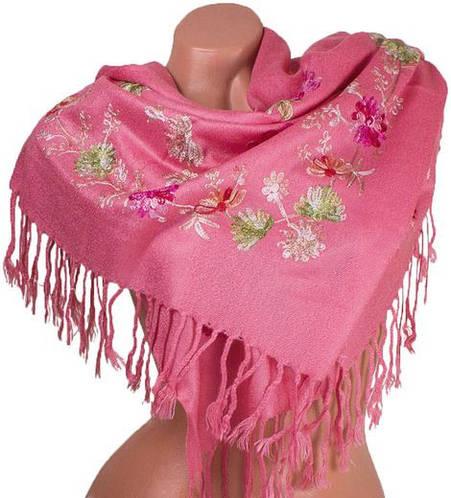Женский прекрасный шерстяной шарф 163 на 69 см ETERNO ES0206-7-13 розовый