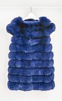 Меховой женский жилети из меха песца синего цвета
