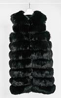Меховой женский жилет из меха песца черного цвета