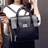 Рюкзак-сумка трансформер женский черный, наппа