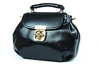 Черная маленькая кожаная сумка, кроссбоди