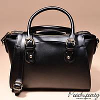 Черная каркасная кожаная сумка