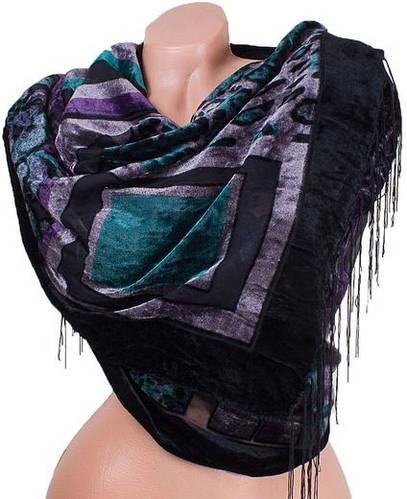 Удивительный женский бархатный шарф 156 на 52 см ETERNO ES0206-6-17 черный