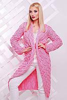 """Яркий вязанный женский  кардиган  """"LOLO"""" длинный 42-52 (светло-розовый), фото 1"""