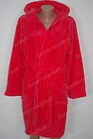 Махровый женский халат на запах M, L, XL, XXL красный