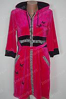 Велюровый халат на замке M, L, XL, XXL розовый