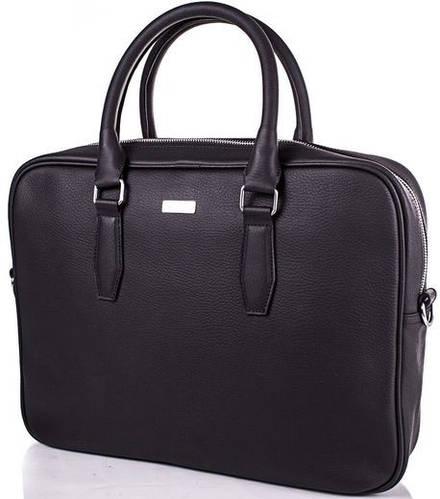 Стильная мужская кожаная сумка Valenta (ВАЛЕНТА) VBM703681 черная