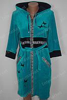 Велюровый халат на замке M, L, XL, XXL голубой
