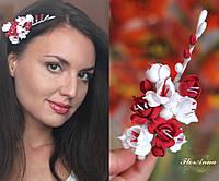 """Веточка фрезии. Свадебные украшения для волос """"Бело-красные фрезии"""""""