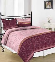 Комплект постельного белья сатин односпальный квадраты розовые