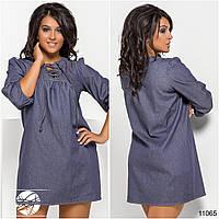 Женское короткое джинсовое платье больших размеров с шнуровкой на груди