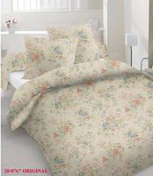 Комплект постельного белья сатин двуспальный бежевые цветы