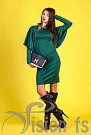 Красивое теплое платье Меламори изумрудного цвета
